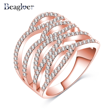 Beagloer Sparkling Fashion Rings Rose Gold/Silver Color Hyperbolic Finger Rings Love Rings For Women Punk Jewelry CRI1018