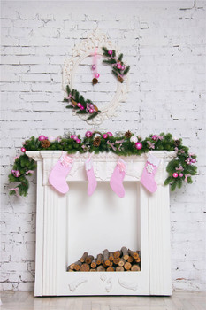 Christmas Socks Photography Backdrops White Brick Wall Vinyl 5x7FT or 3x5FT Photo Background for Studio christmas069