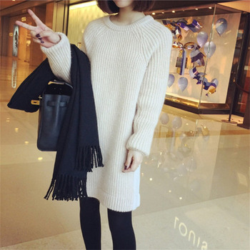 2017 Autumn Winter Women Loose Slim Long Sleeve Sweater Pullover Round Collar Solid Color Long Knitted Casual Sweater Women Tops